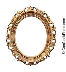 Oval frame - Retro oval frame isolated with clipping path...