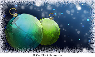 Chistmas balls - Two Christmas balls with decoration and...