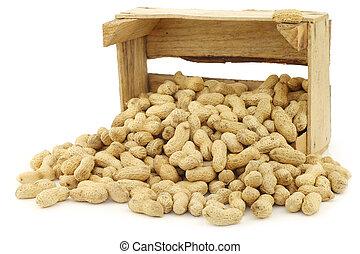 cacahuètes, tas, rôti
