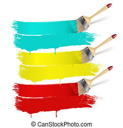 paint brush with color banners - paint brush with three...