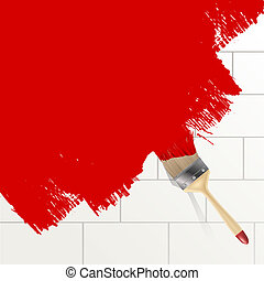 paint brush painting on a wall background