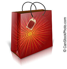 Christmas shoping bag with lable - Illustration of christmas...