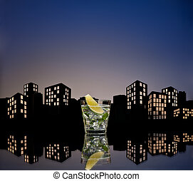 Metropolis Mojito cocktail in city skyline setting