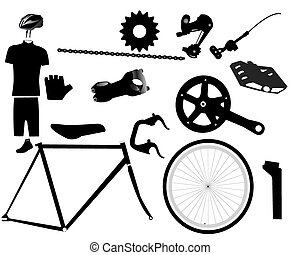 parts for bicycles - Bicycle parts on a white background
