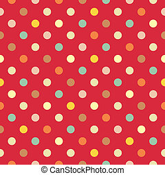 Vector colorful dots red background - Retro vector seamless...