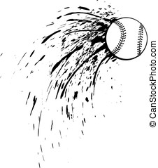 Baseball or Softball Splatter - Black and white vector...