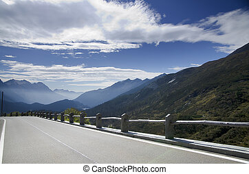 Panoramic view over mountain with a road - Panoramic view...