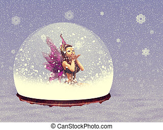 Snow globe with fairy - Illustration of magical snow globe...
