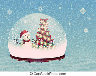 Snow globe with snowman - Illustration of magical snow globe...