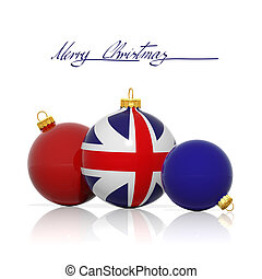 Christmas balls with United Kingdom flag isolated on white