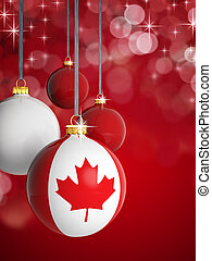 Christmas balls with Canadian flag in front of lights...
