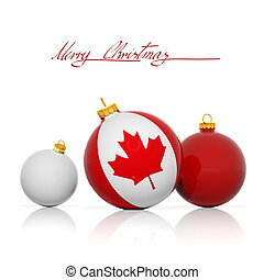 Christmas balls with Canada flag isolated on white