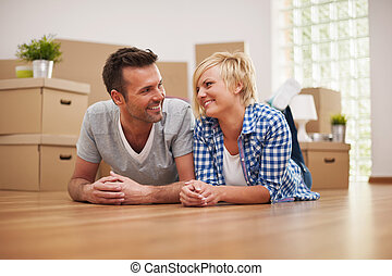 Couple taking a break from moving house