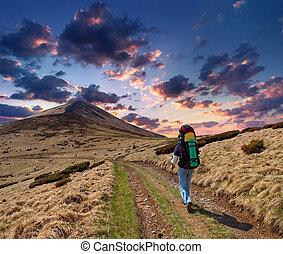 esportiva, homem, montanha, jornada