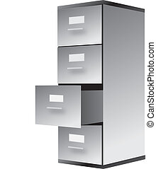 cabinet - drawing of filing cabinet isolalted on white
