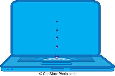 waterdrops falling on blue laptop