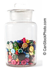 Jar of vintage buttons - Big glass jar containing lots of...