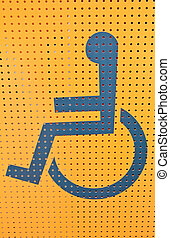 Handicap access on yellow background