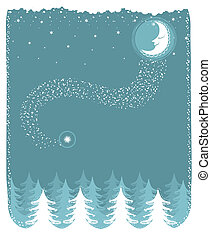 Snowy landscape with nice moon and forest.Vector christmas card