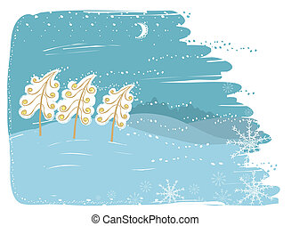 Winter card with trees on snow landscapeVector christmas...