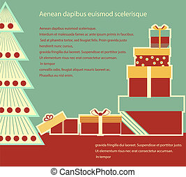Christmas gifts boxes.Vector background card for text