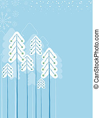 Christmas winter forest.Vector symbol card for text