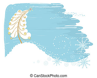 Tender christmas card with tree.Vector snow background