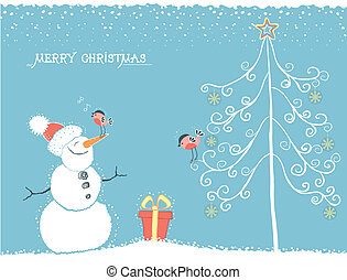 Christmas winter card with snowman