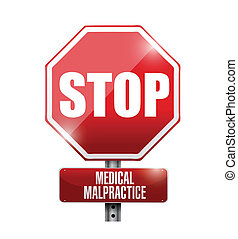stop medical malpractice road sign illustration design over...