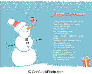 Christmas winter background card with snowman for text
