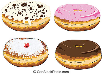 donuts - set of colorful donuts