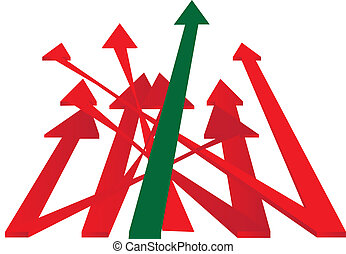 arrows in top direction - green and red arrows to success