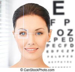 woman and eye chart - future technology, medicine and vision...