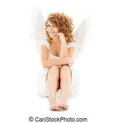 happy teenage angel girl - holidays and costumes concept -...