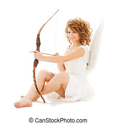 happy teenage angel girl with bow and arrow - holidays,...