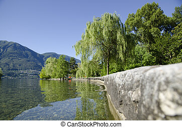 Lakefront with mountain and green trees with blue sky