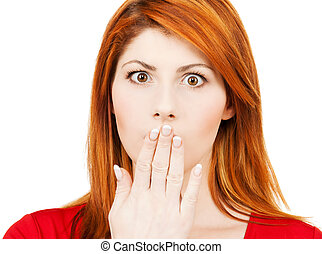 amazed woman with hand over mouth - picture of amazed woman...