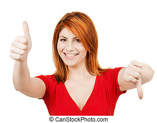 businesswoman with thumbs up and down - business concept -...