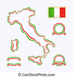 Colors of Italy - Outline map of Italy Border is marked with...