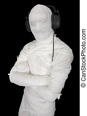 Man in bandage with ear-phones