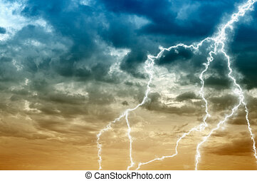 Cloudy sky abstract background with lightning - The cloudy...