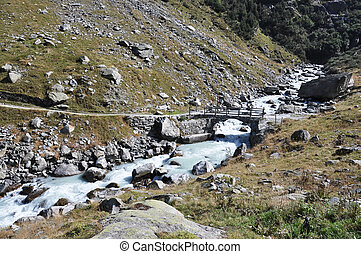Mountain river in Berner Oberland region of Switzerland