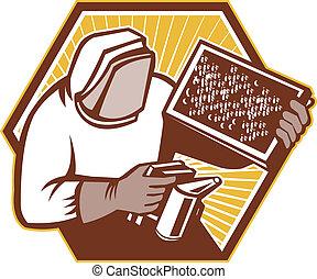 apicultor, apicultor, tenencia, cerveza, cría, Retro