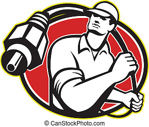 Cable TV Installer Guy - Illustration of a cable tv...