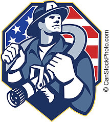 norteamericano, bombero, Fire-fighter, fuego, manguera,...