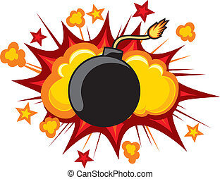 old bomb starting to explode comic book explosion old style...