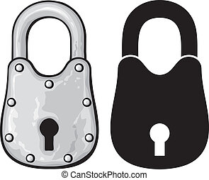 rusty padlock old padlock - Vector illustration of rusty...