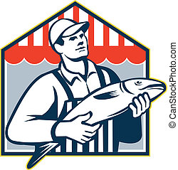 Fishmonger Holding Fish Retro - Retro style illustration of...