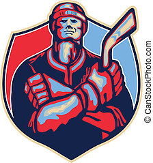 Ice Hockey Player Front With Stick Retro - Illustration of...