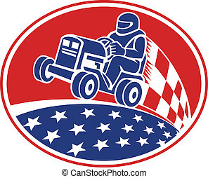 Ride On Lawn Mower Racing Retro - Illustration of an...